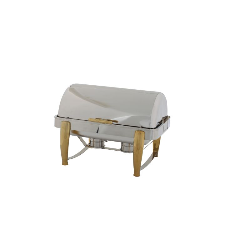 Virtuoso 8qt Full-size Chafer, Roll-top, S/S, Gold Accent, Extra Heavyweight
