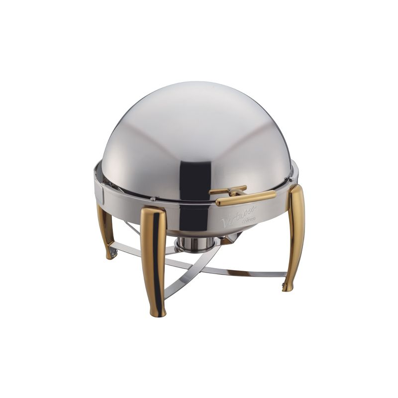 Virtuoso 6qt Round Chafer, Roll-top, S/S, Gold Accent, Extra Heavyweight