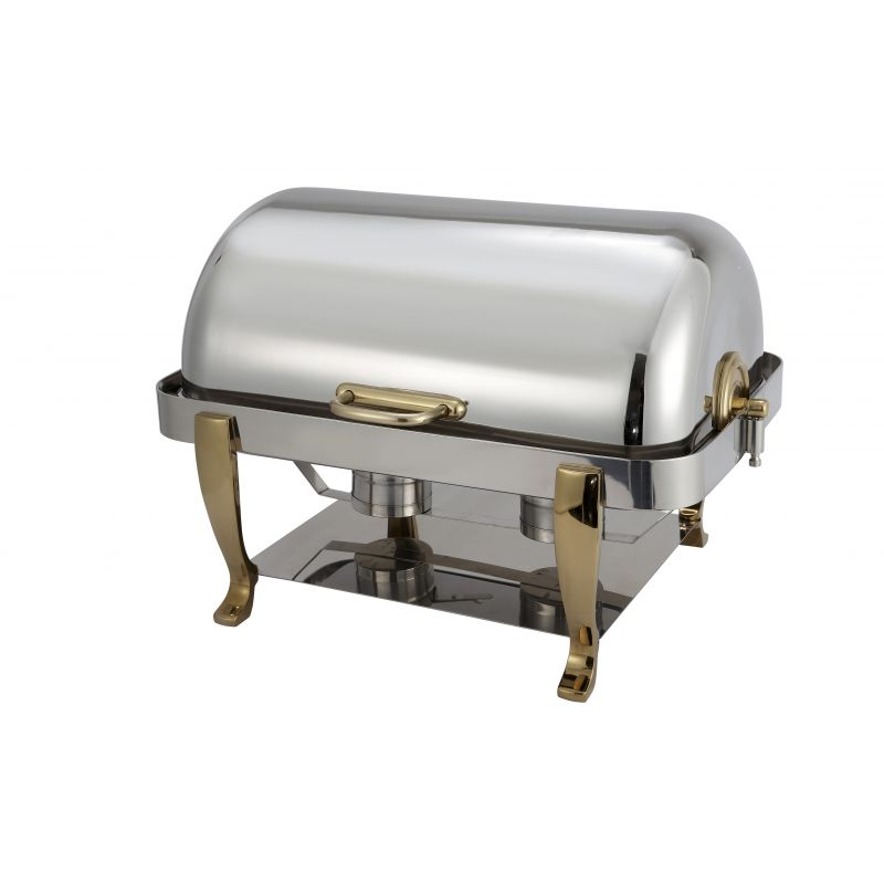 Vintage 8qt Full-size Chafer, S/S, Gold Accent, Extra Heavyweight
