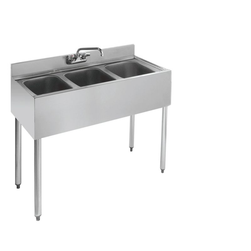 Krowne Standard 1800 Series Underbar Three Compartment Sink Unit - 36 inches