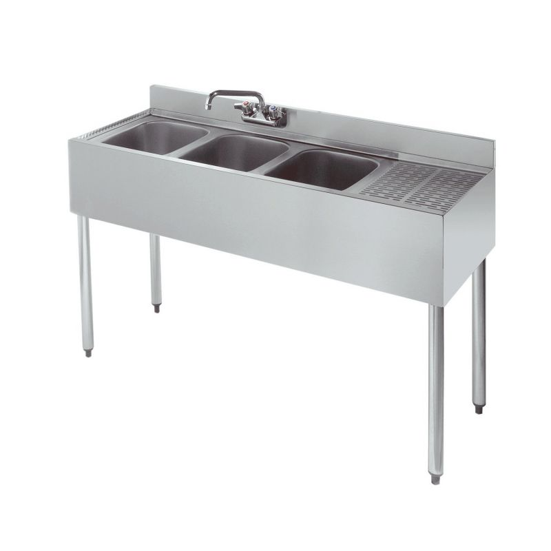 Krowne Standard 1800 Series Underbar Three Compartment Sink Unit - 48 inches