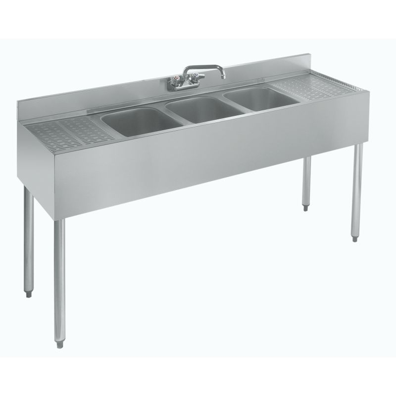 Krowne Standard 1800 Series Underbar Three Compartment Sink Unit - 60 inches