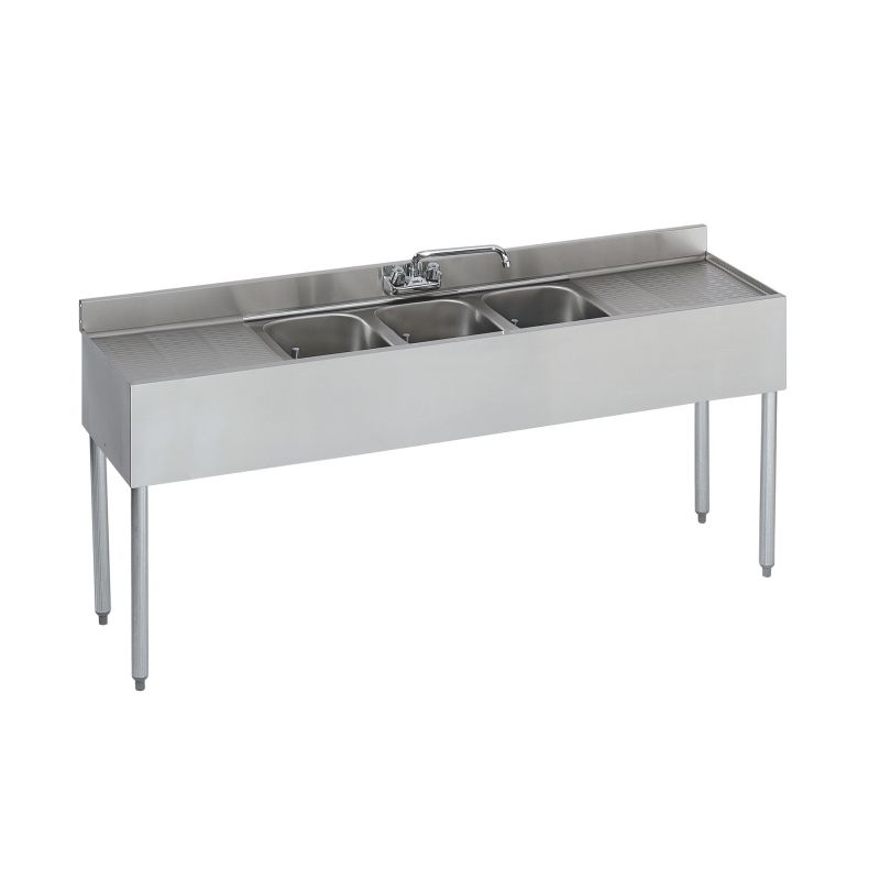 Krowne Standard 1800 Series Underbar Three Compartment Sink Unit - 72 inches