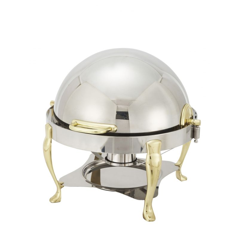 Vintage 6qt Round Chafer, S/S, Gold Accent, Extra Heavyweight