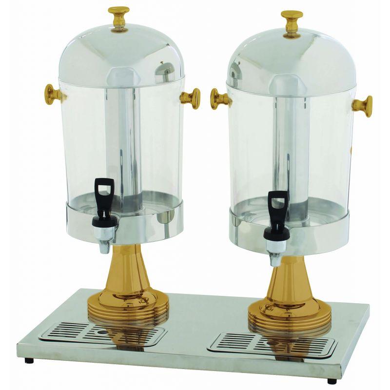 Double Juice Dispenser, 2 x 7-1/2qt, Gold Accent