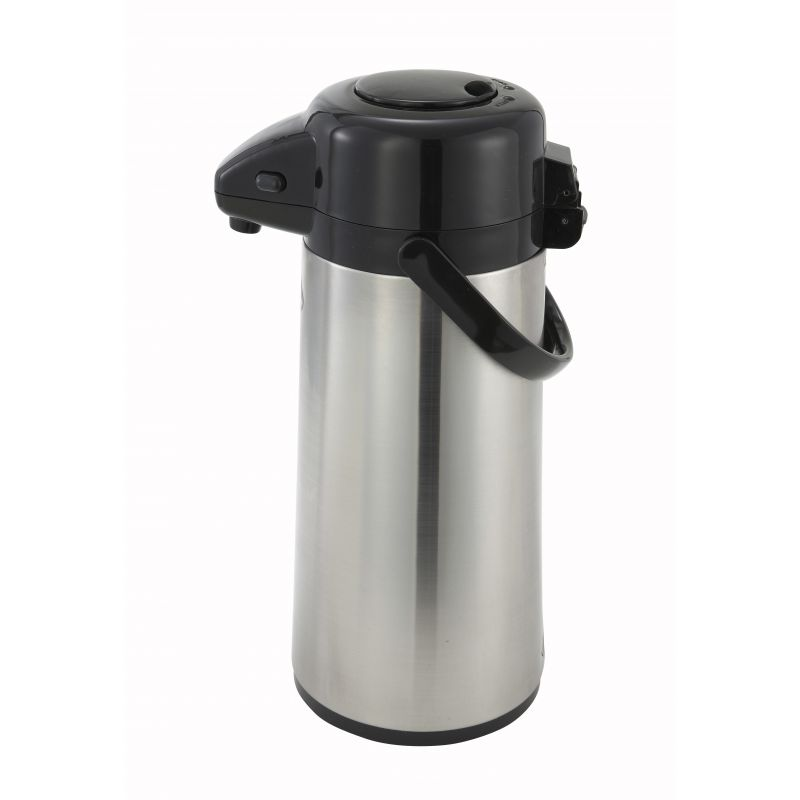 2.2L Glass Lined Airpot w/Push Button Top, S/S Body