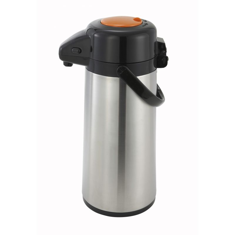 2.2L Glass Lined Airpot w/Push Button Top, S/S Body, Decaf