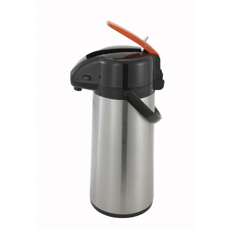 2.2L Glass Lined Airpot w/Lever Top, S/S Body, Decaf