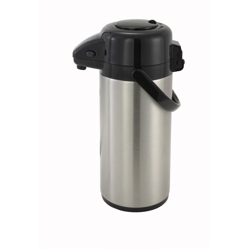 2.5L S/S Lined Airpot w/Push Button Top, S/S Body