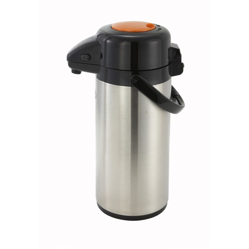 2.5L S/S Lined Airpot w/Push Button Top, S/S Body, Decaf