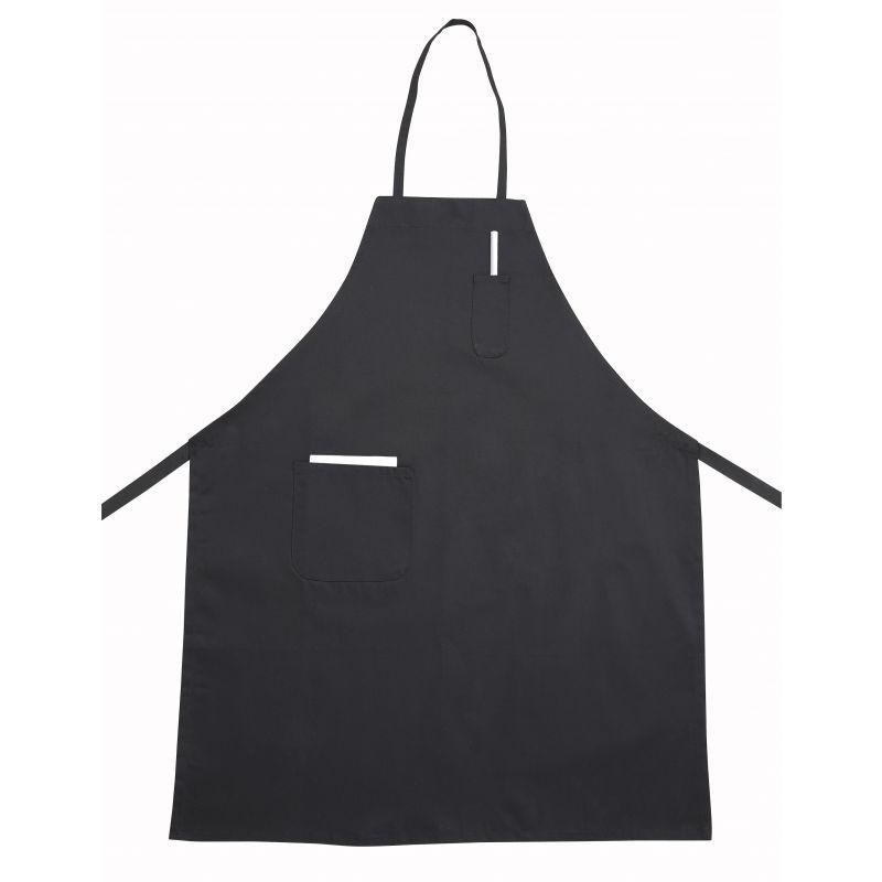 Full Length Bib Apron w/Pocket, Black