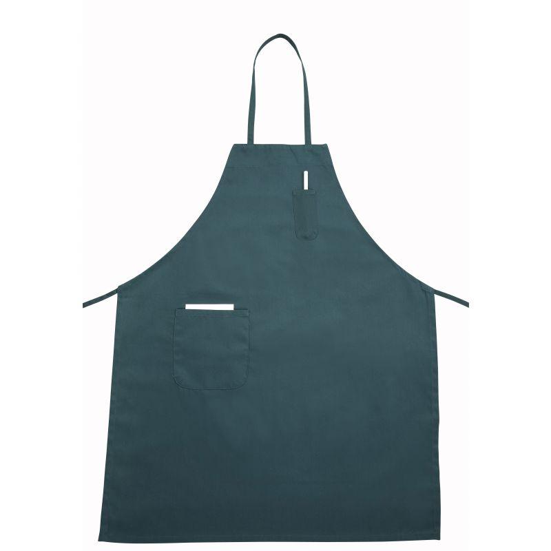 Full Length Bib Apron w/Pocket, Green