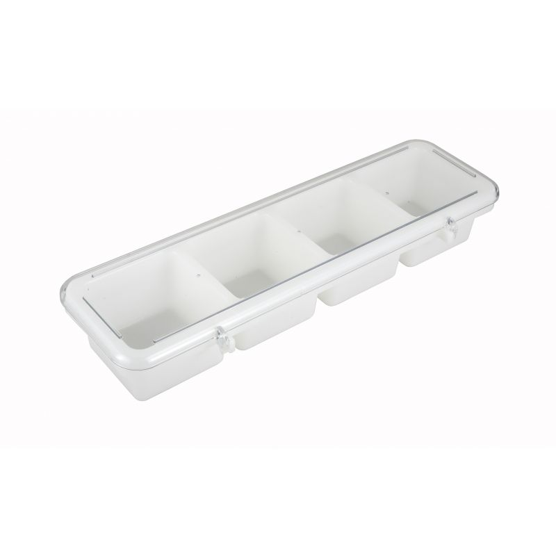 Condiment Holder, 4 Compartment, White, Plastic
