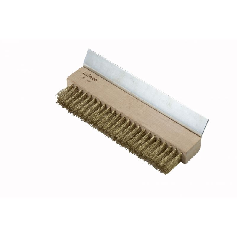 Pizza Oven Brush Head, Brass Bristles w/Scraper