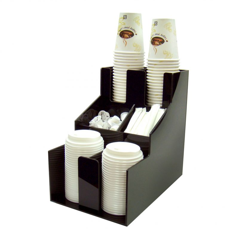 Cup & Lid Organizer, 3 Tiers, 2 Stacks