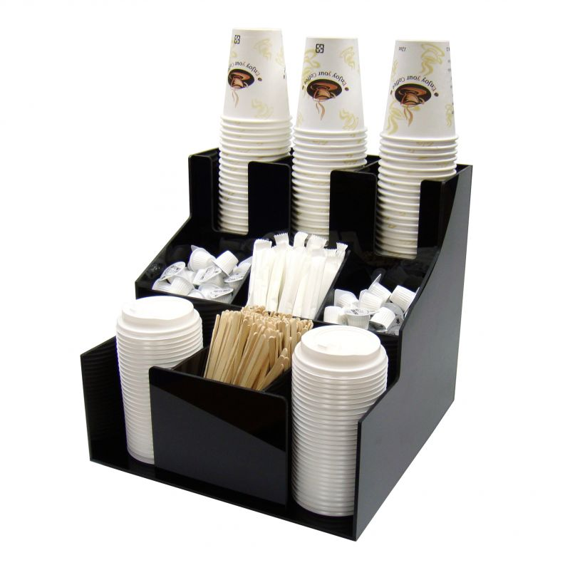 Cup & Lid Organizer, 3 Tiers, 3 Stacks