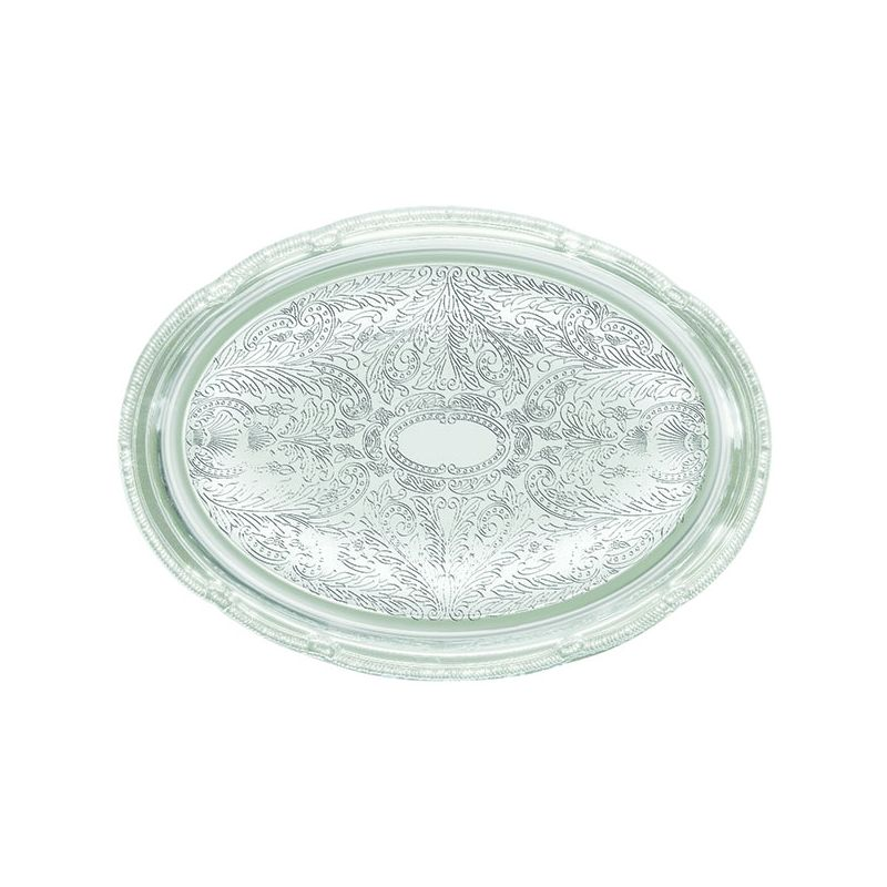 Serving Tray, Oval, 14 inches x 10 inches, Chrome Plated