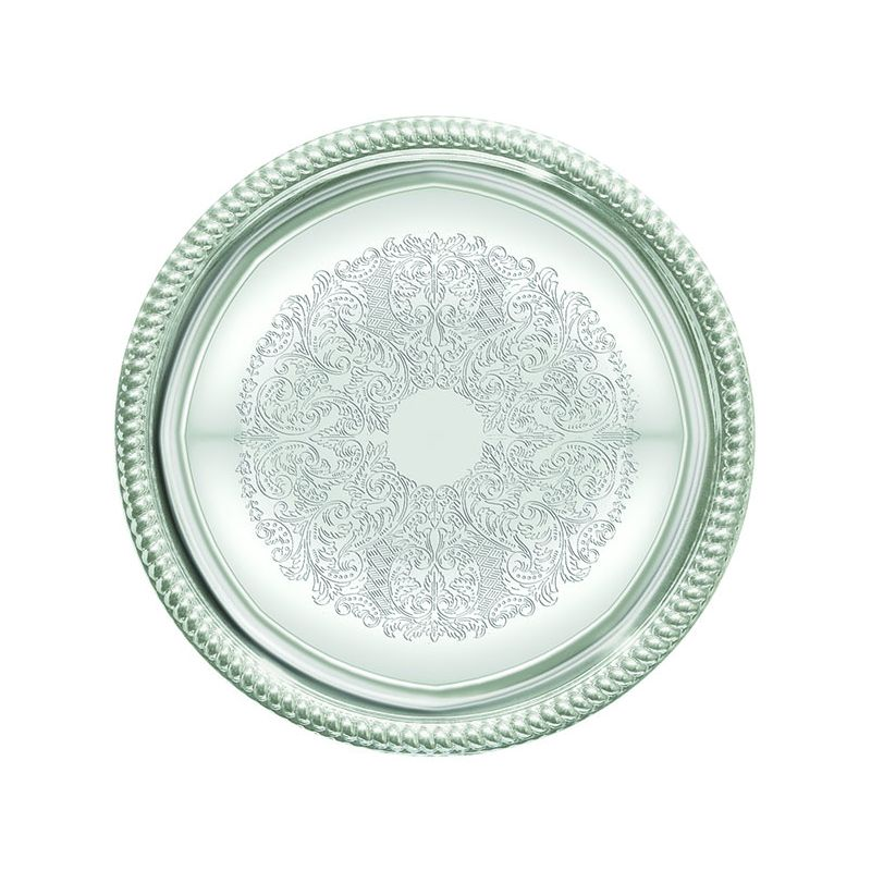 Serving Tray, Round, 14 inches, Chrome Plated