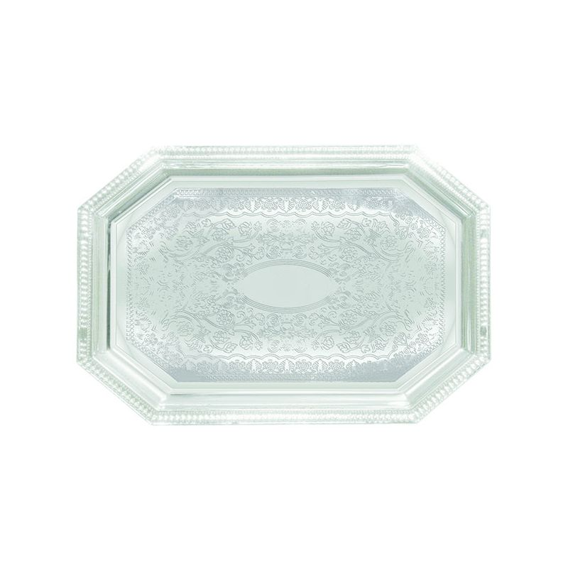Serving Tray, Octagonal, 12 inches x 17 inches, Chrome Plated
