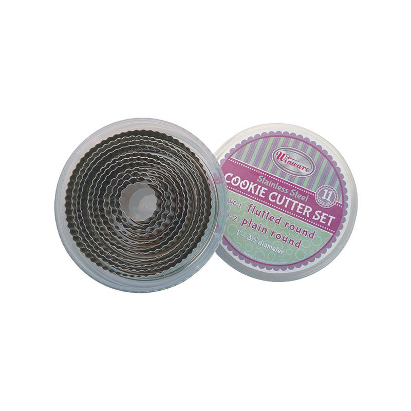 11pc Cookie Cutter Set, Fluted Round, 1 inches to 3 inches Dia x 1 inchesH, S/S