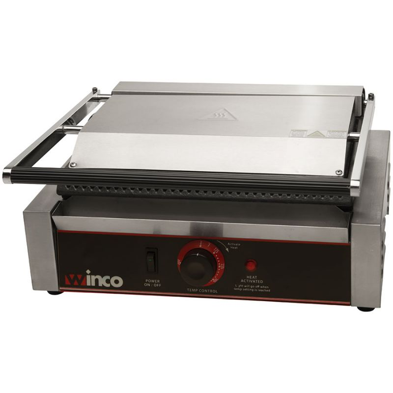 Panini Grill, Single, 14 inches Ribbed Plate, 120V