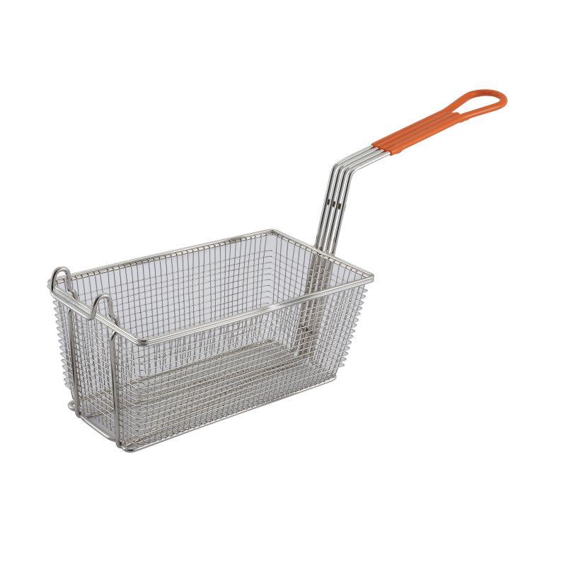 Fry Basket, 12-1/8 inches x 6-1/2 inches x 5-3/8 inches, 10 inches Orange Hdl
