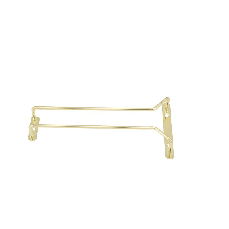 Wire Glass Hanger, Single Channel, 10 inches, Brass Plated