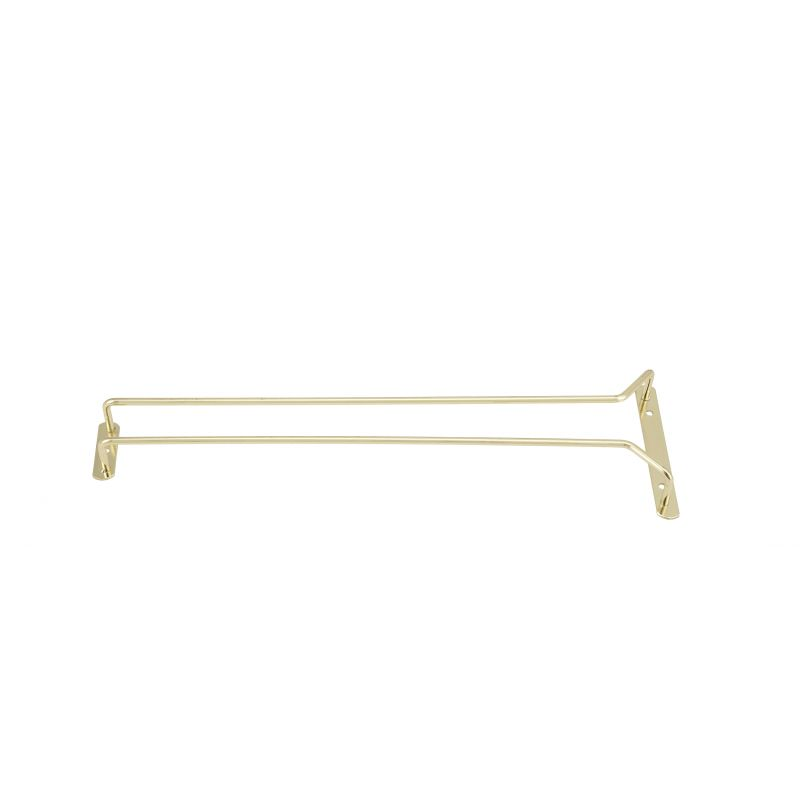 Wire Glass Hanger, Single Channel, 16 inches, Brass Plated