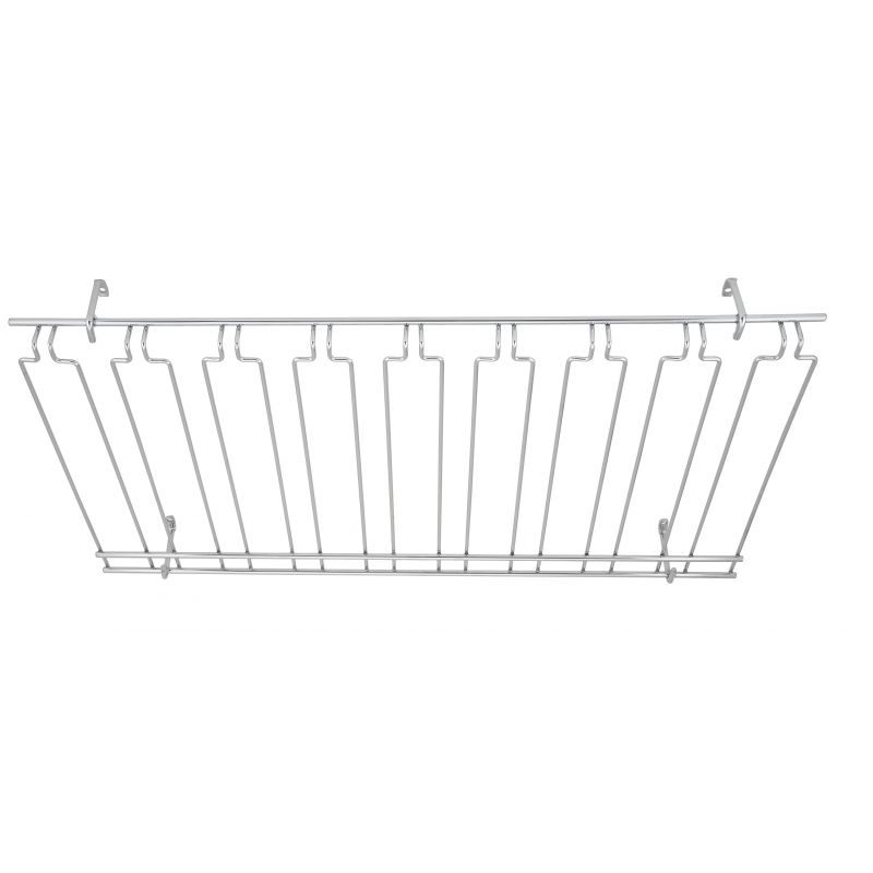 Glass Rack, Overhead, 8 Channels, 18 inches x 36 inches x 4 inches, Chrome Plated
