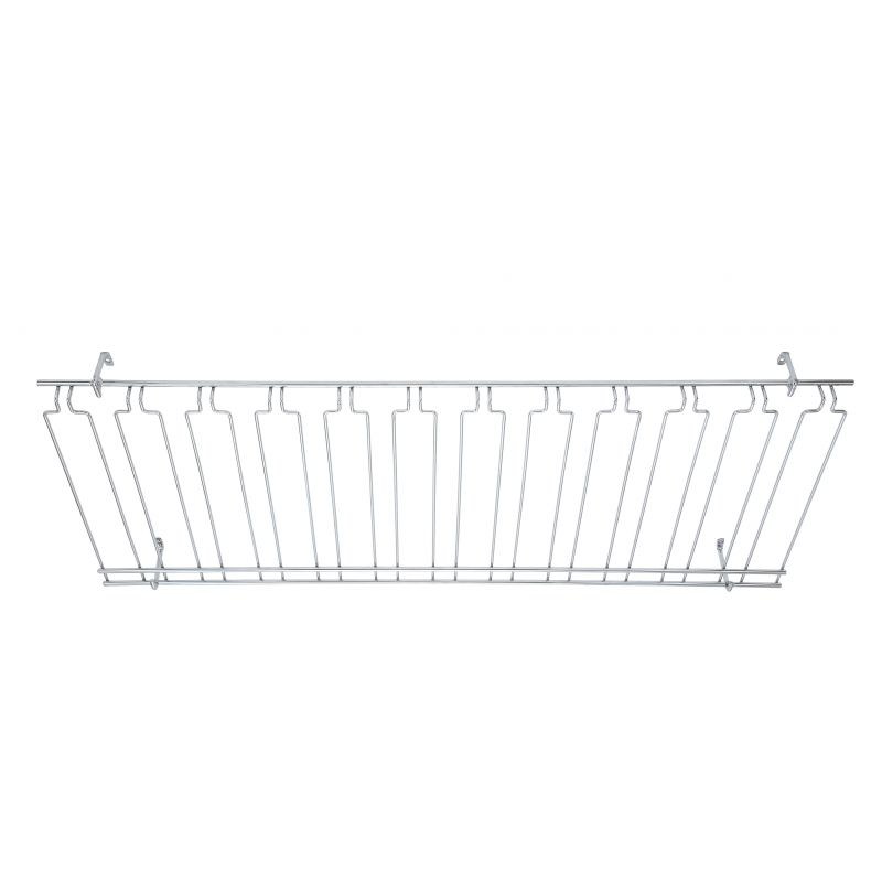 Glass Rack, Overhead, 11 Channels, 18 inches x 48 inches x 4 inches, Chrome Plated