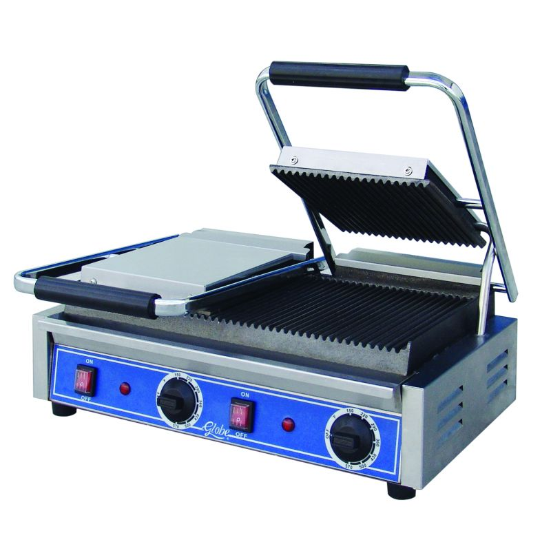 Globe Double Panini Grill - Grooved