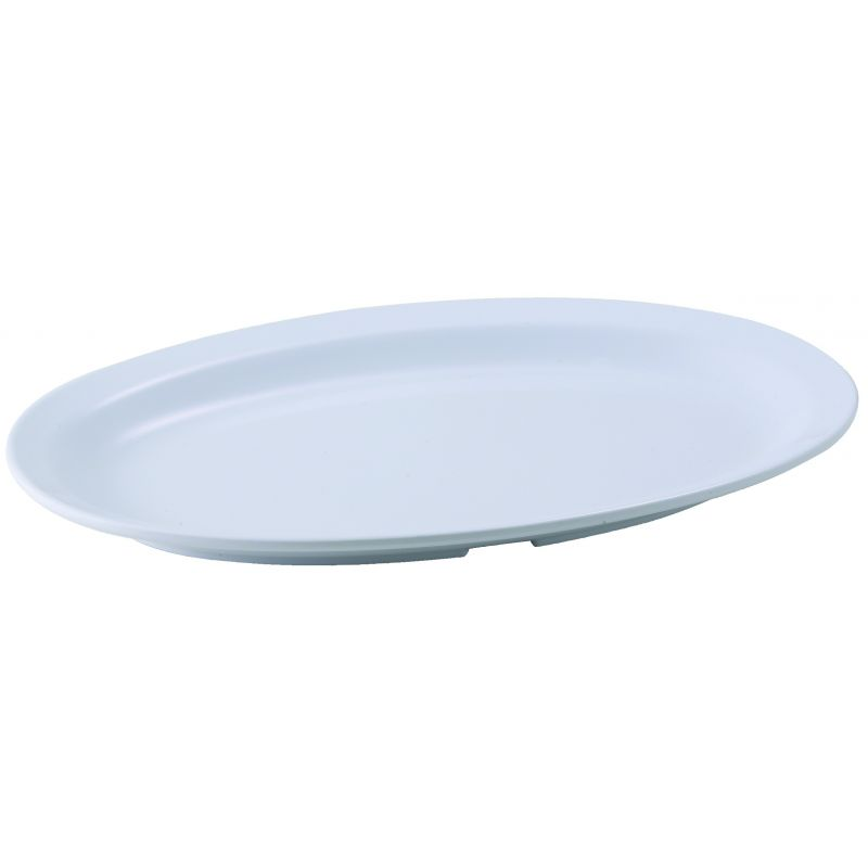 11-1/2 inches x 8 inches Melamine Oval Platters, Narrow Rim, White