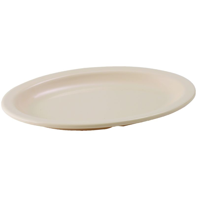 9-3/4 inches x 6-3/4 inches Melamine Oval Platters, Narrow Rim, Tan