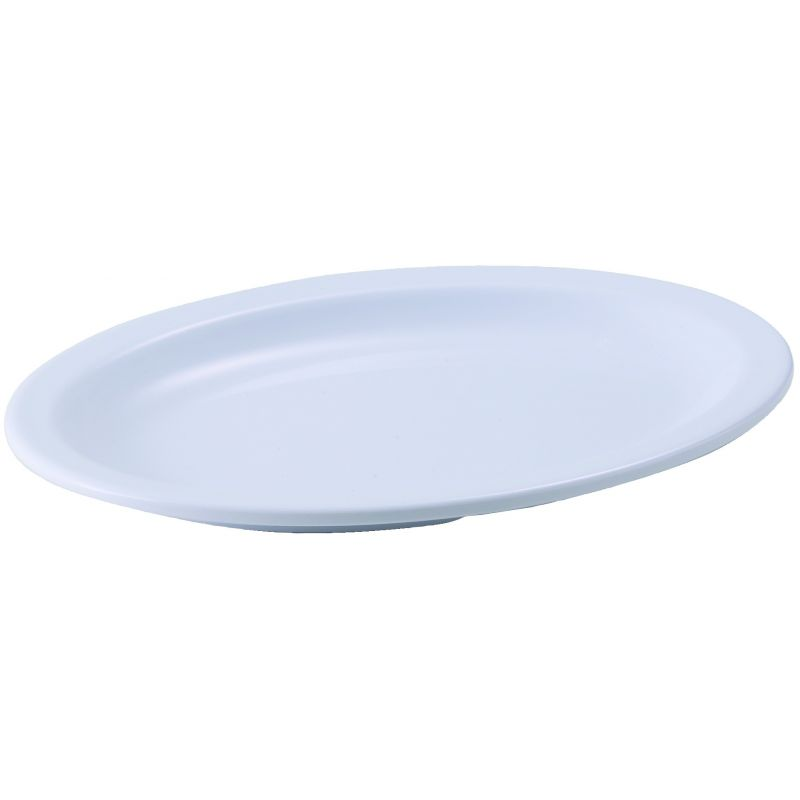 9-3/4 inches x 6-3/4 inches Melamine Oval Platters, Narrow Rim, White