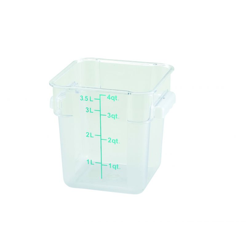 4qt Square Storage Container, Clear, PC