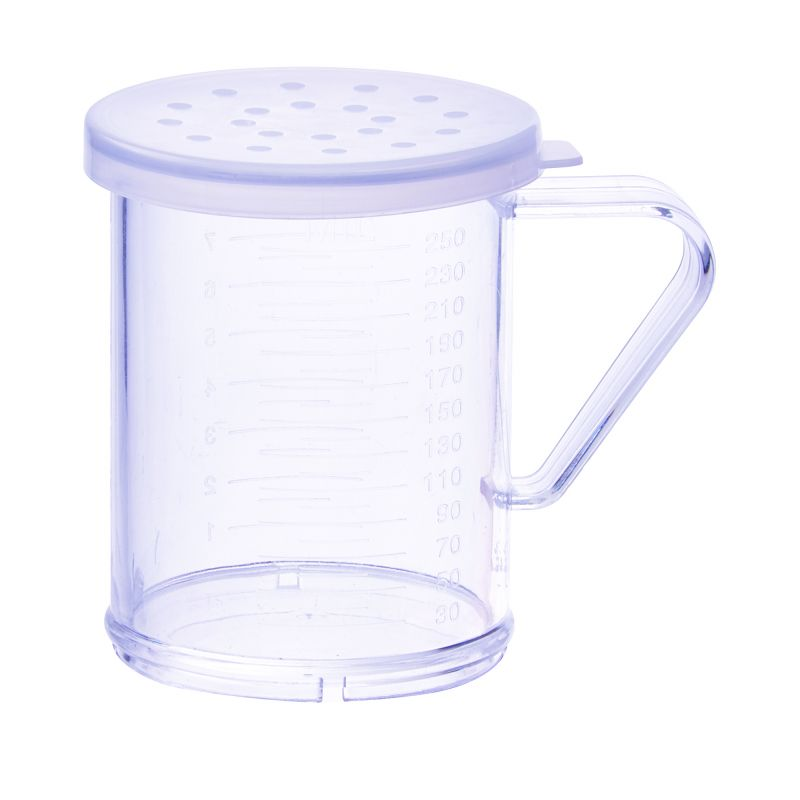10oz Dredge with Clear Snap-on Lid, Large Hole