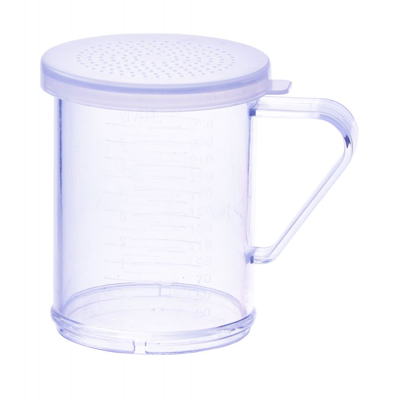 10oz Dredge with Clear Snap-on Lid, Small Hole