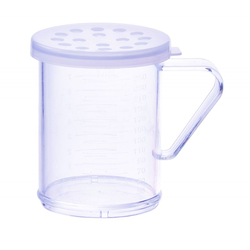 10oz Dredge with Clear Snap-on Lid, Extra Large Hole