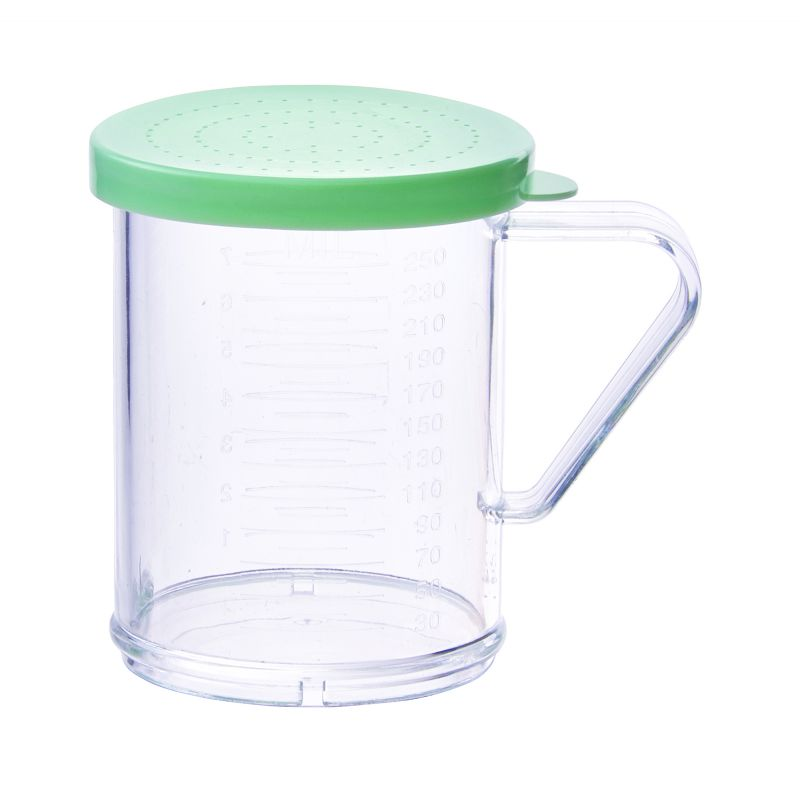 10oz Dredge with Green Snap-on Lid, PC