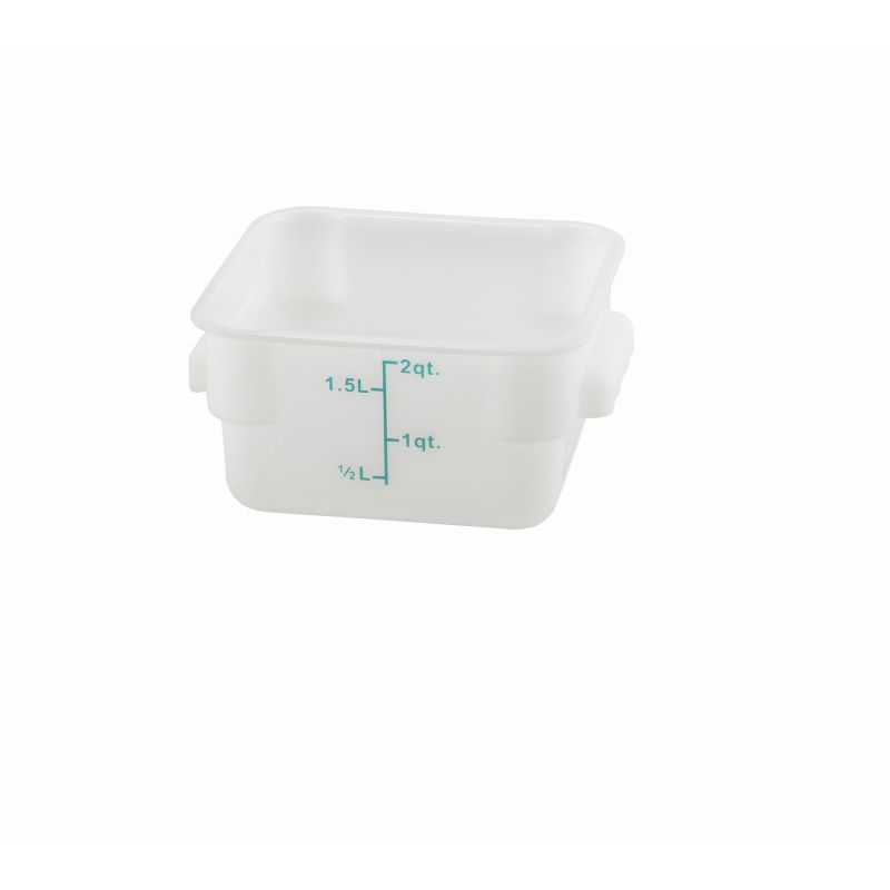 2qt Square Storage Container, White, PP