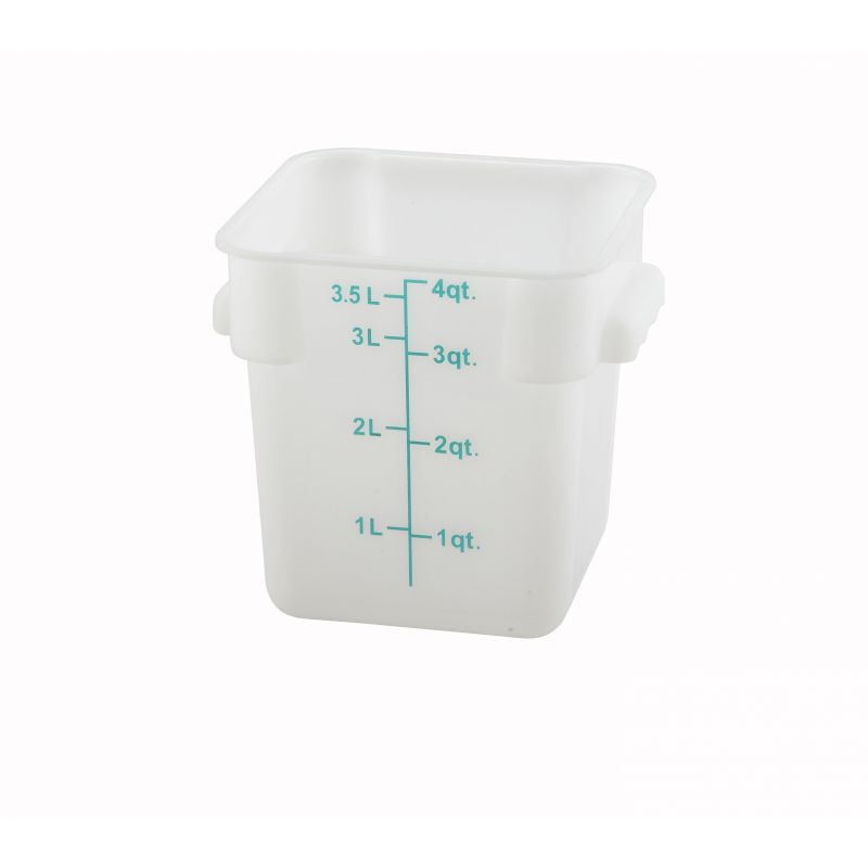 4qt Square Storage Container, White, PP