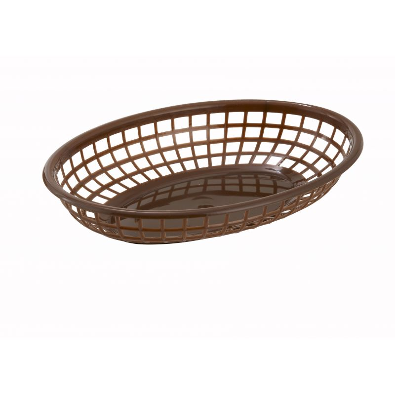 Fast Food Baskets, Oval, 9-1/2 inches x 5 inches x 2 inches, Brown