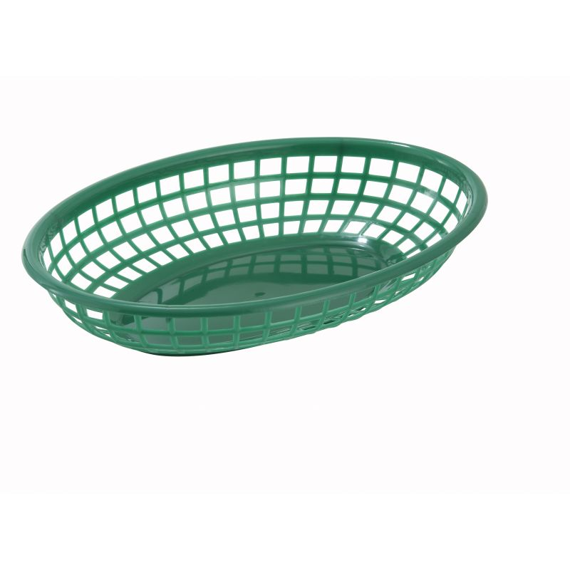 Fast Food Baskets, Oval, 9-1/2 inches x 5 inches x 2 inches, Green