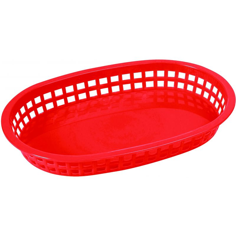 Platter Baskets, Oval, 10-3/4 inches x 7-1/4 inches x 1-1/2 inches, Red