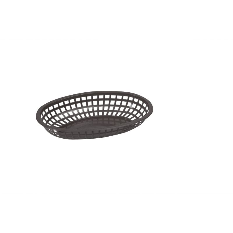 Fast Food Baskets, Oval, 10-1/4 inches x 6-3/4 inches x 2 inches, Black