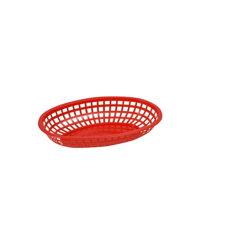 Fast Food Baskets, Oval, 10-1/4 inches x 6-3/4 inches x 2 inches, Red