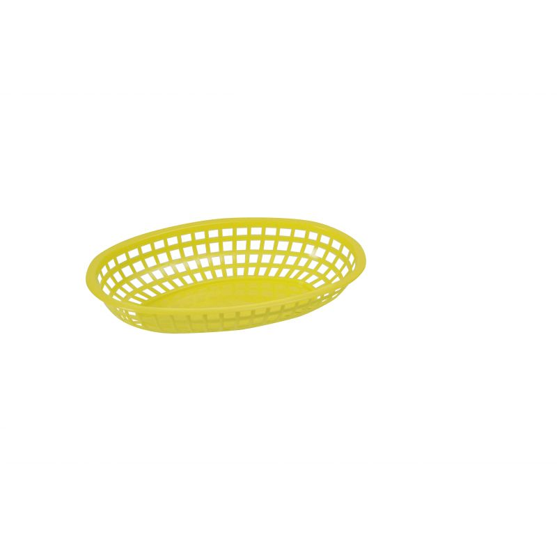 Fast Food Baskets, Oval, 10-1/4 inches x 6-3/4 inches x 2 inches, Yellow