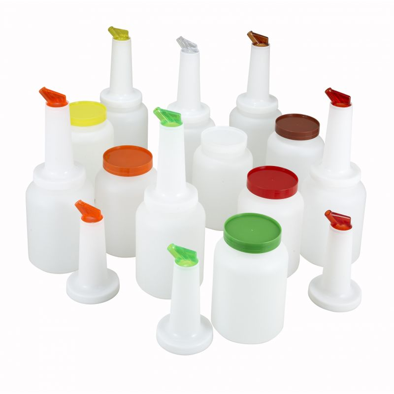 1qt Liquor/Juice Pour Bottle Set, 12 pcs/cs, 2 of Each Color