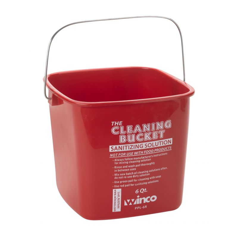 6qt Cleaning Bucket, Red Sanitizing Solution