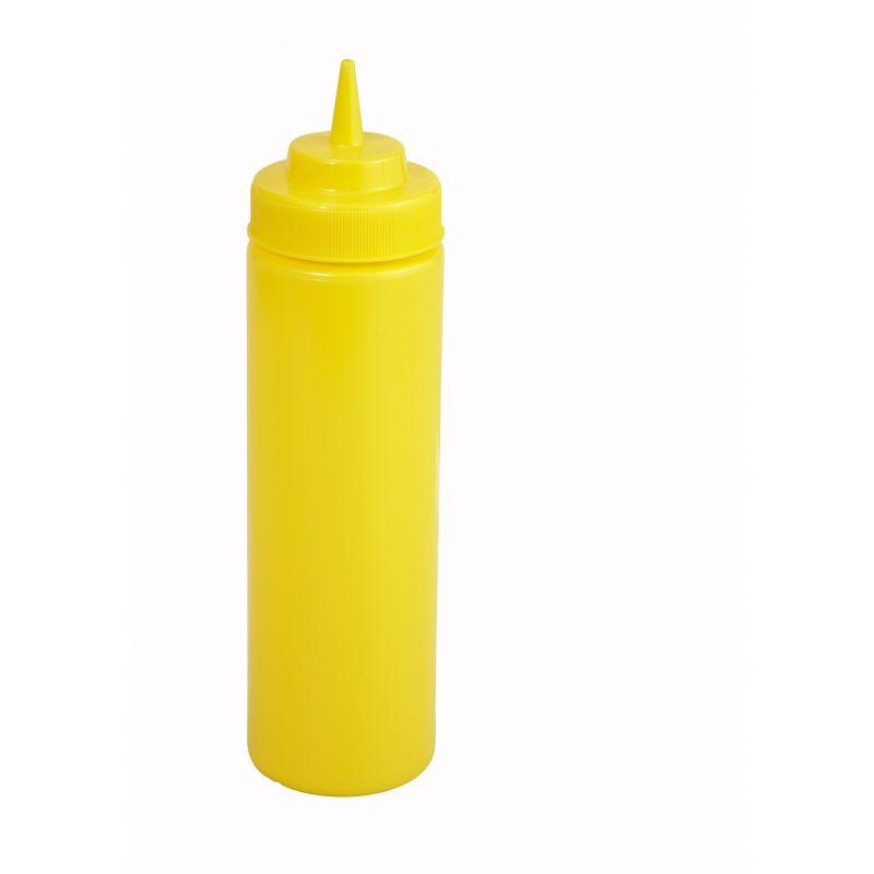 12oz Squeeze Bottles, Wide Mouth, Yellow, 6pcs/pk